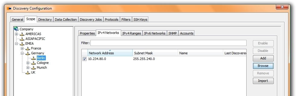 configure the ping sweep for IPv4 networks