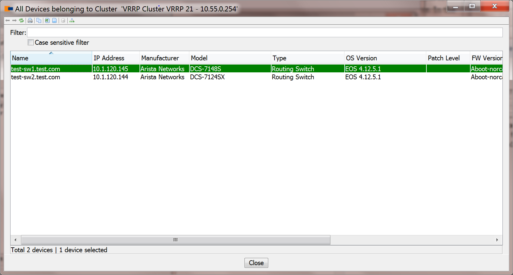VRRP Cluster Devices