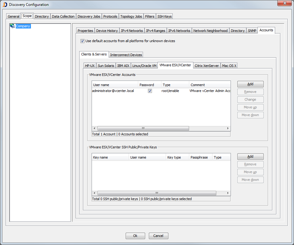 Maintain the list of default accounts for VMware Installations