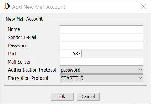 Add New Mail Account Dialog