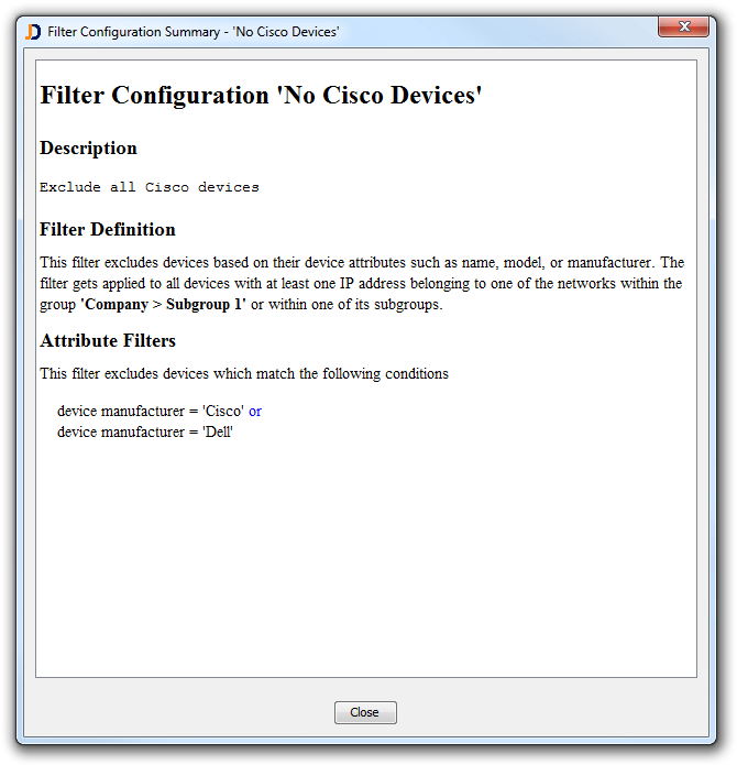 Filter Configuration Summary - No Cisco Devices
