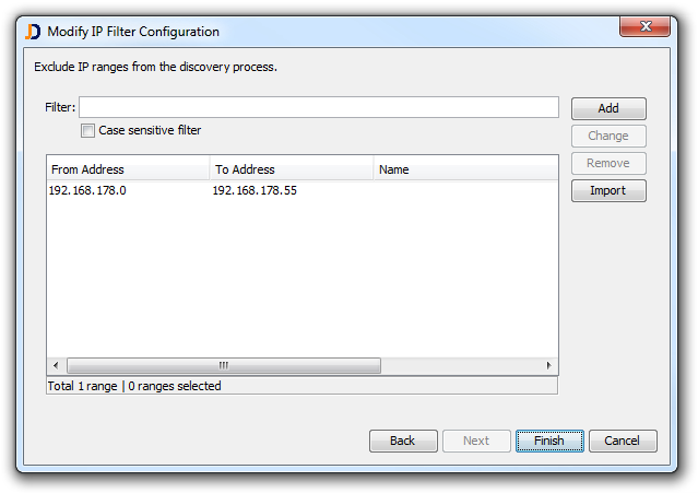 Modify IP Filter Configuration
